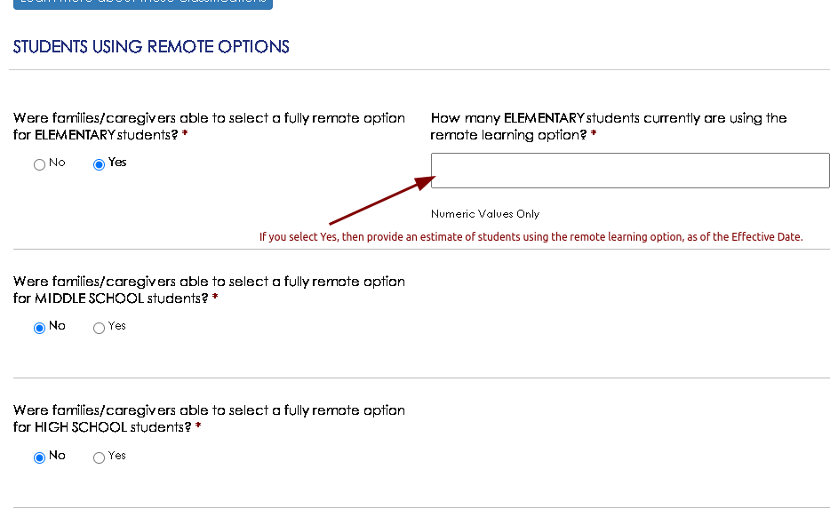 Provide estimate of students using teaching mode